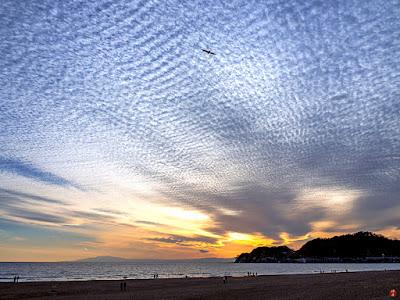 Sunset seascape: Yuigahama-beach