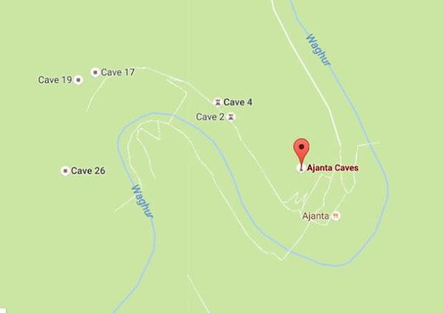 خريطة كهوف قرية أجانتا في الهند Ajanta Caves In India Map
