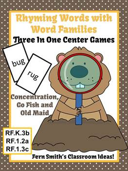 Fern Smith's Groundhog Rhyming Words Word Families Center Games & Interactive Notebook Pages