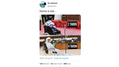 Habib Rizieq Dihukum Dua Kali Lipat Hukuman Ahok, Netizen: Karma is Real