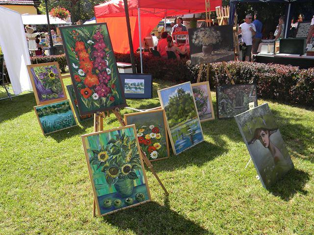 jarmark, sztuka, malarstwo, na trawie