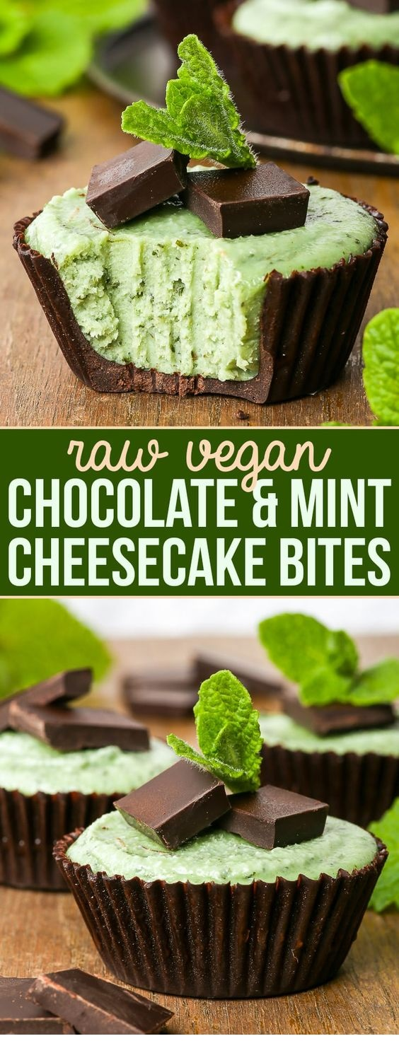 Chocolate & Mint Raw Vegan Cheesecake Bites