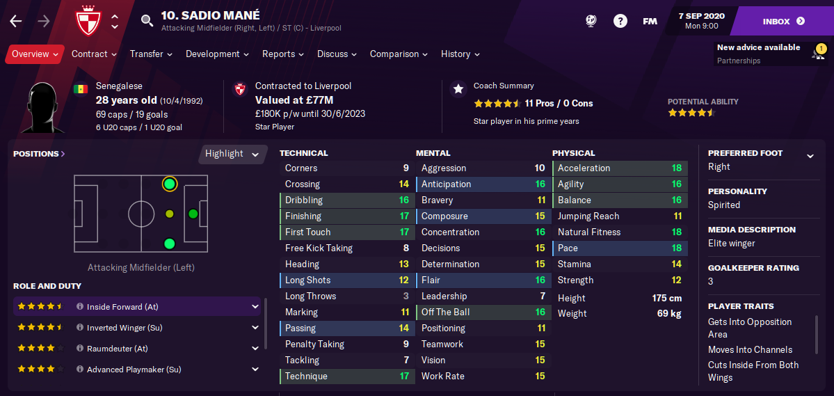FM21 Liverpool Team Guide - Tactic - Sadio Mane