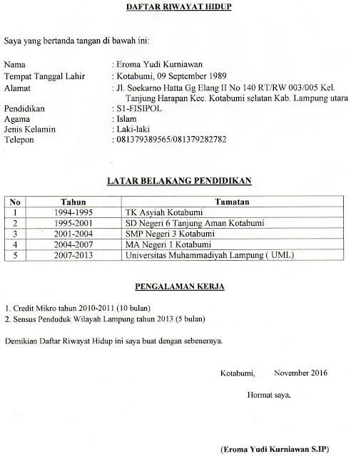 Contoh Daftar Riwayat Hidup ( CV )