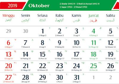 KALENDER JAWA BULAN OKTOBER 2019 LENGKAP