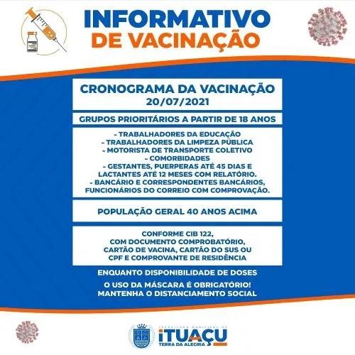 Covid-19: Ituaçu vacina profissionais da educação com 18 anos ou mais