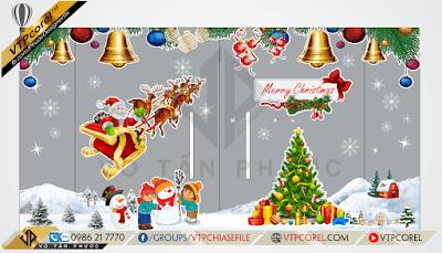 Decal trang trí Giáng sinh dán kính