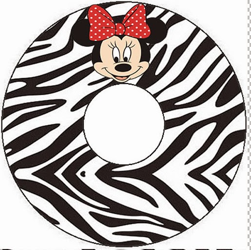 Etiqueta CD´s para Imprimir Gratis de Minnie Cebra y Rojo.