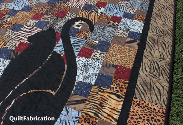 black cat applique on fur fabrics