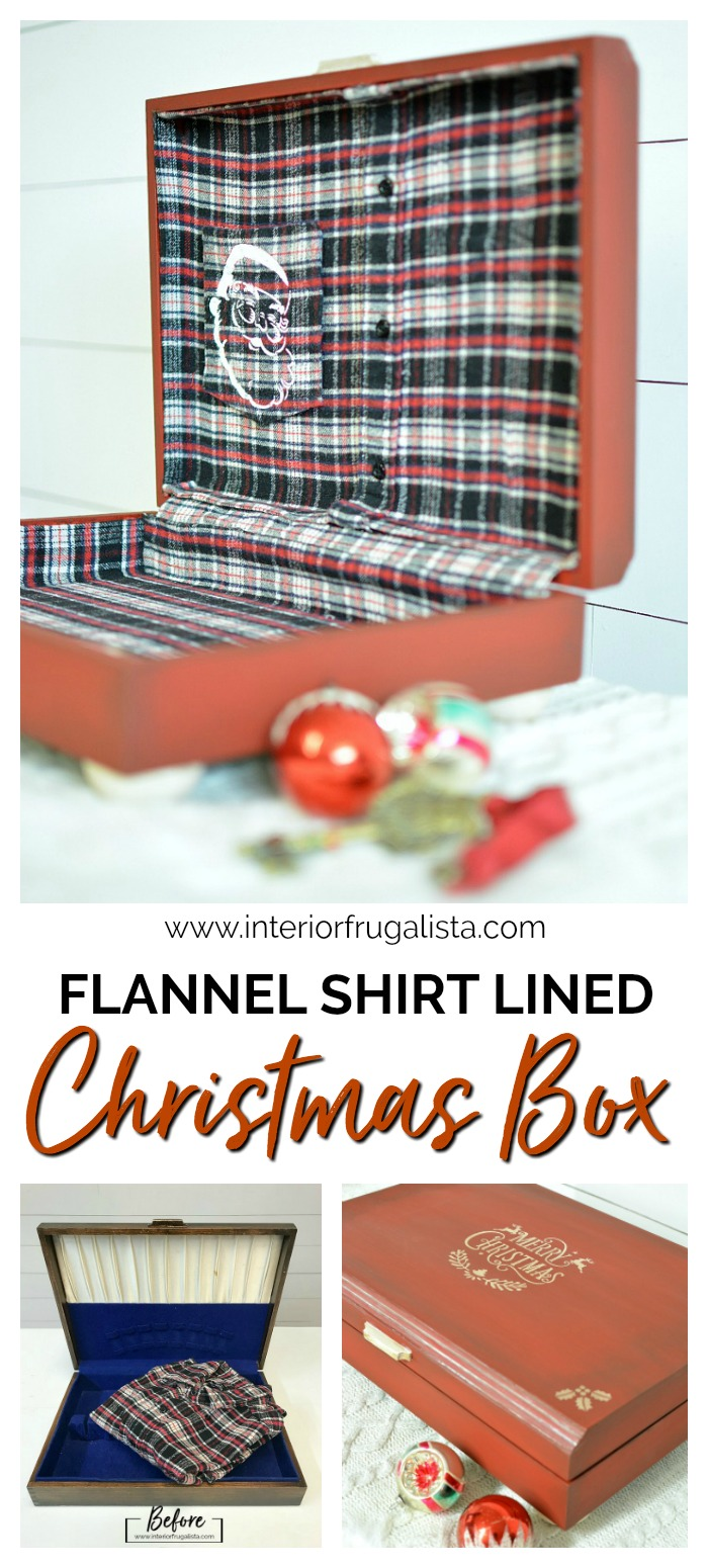 Flannel Shirt Lined Wooden Christmas Box