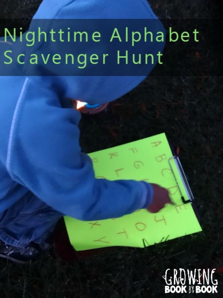 night time alphabet scavenger hunt for kids