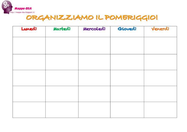 mappedsa mappe concettuali schemi dsa disturbi specifici apprendimento organizzare pomeriggio ragazzi bambini attività planning calendario