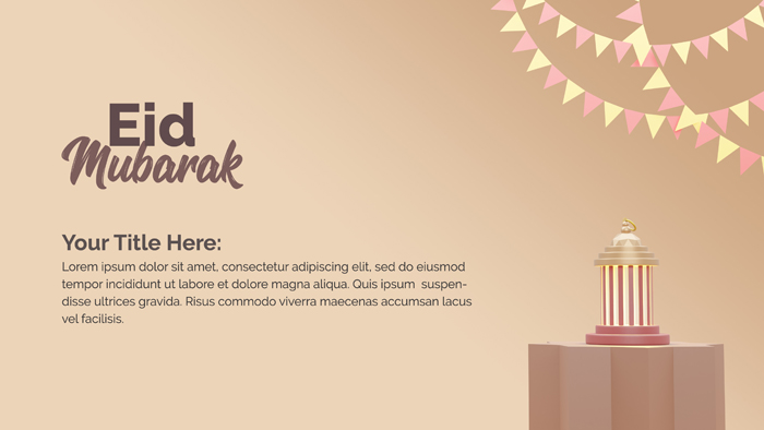 3D Rendering With Lantern Eid Mubarak Background