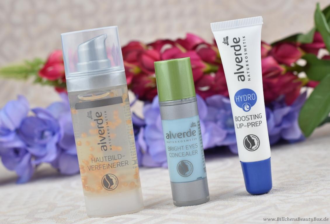 alverde Naturkosmetik - Make-Up Review Favoriten 2018 - Hautbild-Verfeinerer - Hydro Lip-Prep - Bright Eyes Concealer
