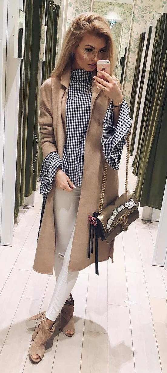 fashion trends outfit: coat + shirt + rips