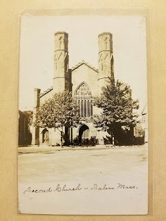 Real photo postcard showing Salem Witch Museum as Second Unitarian Church in 1908