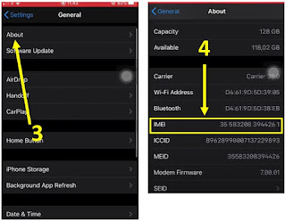 cara cek imei iphone - sistem settings 2