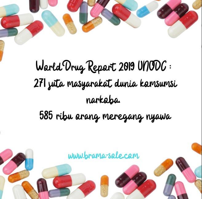World Drug Report 2019 UNODC : 271 juta masyarakat dunia komsumsi narkoba. 585 ribu orang meregang nyawa