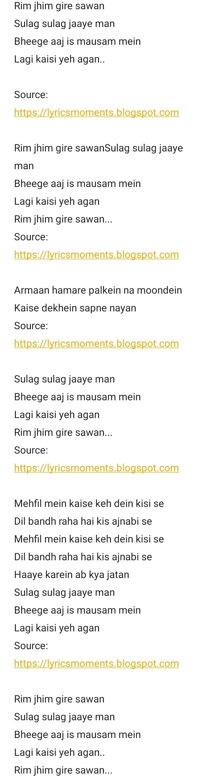 Rim jhim gire sawan lyrics - kishore kumar | manzil