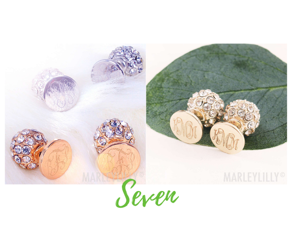 Monogrammed Stud Earring Set from Marleylilly.com