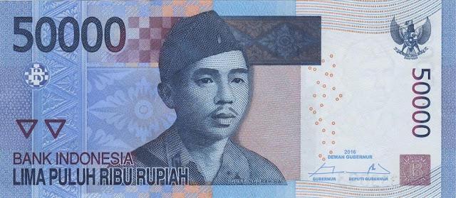 Indonesia Currency 50000 Rupiah banknote 2016 Lieutenant Colonel I Gusti Ngurah Rai
