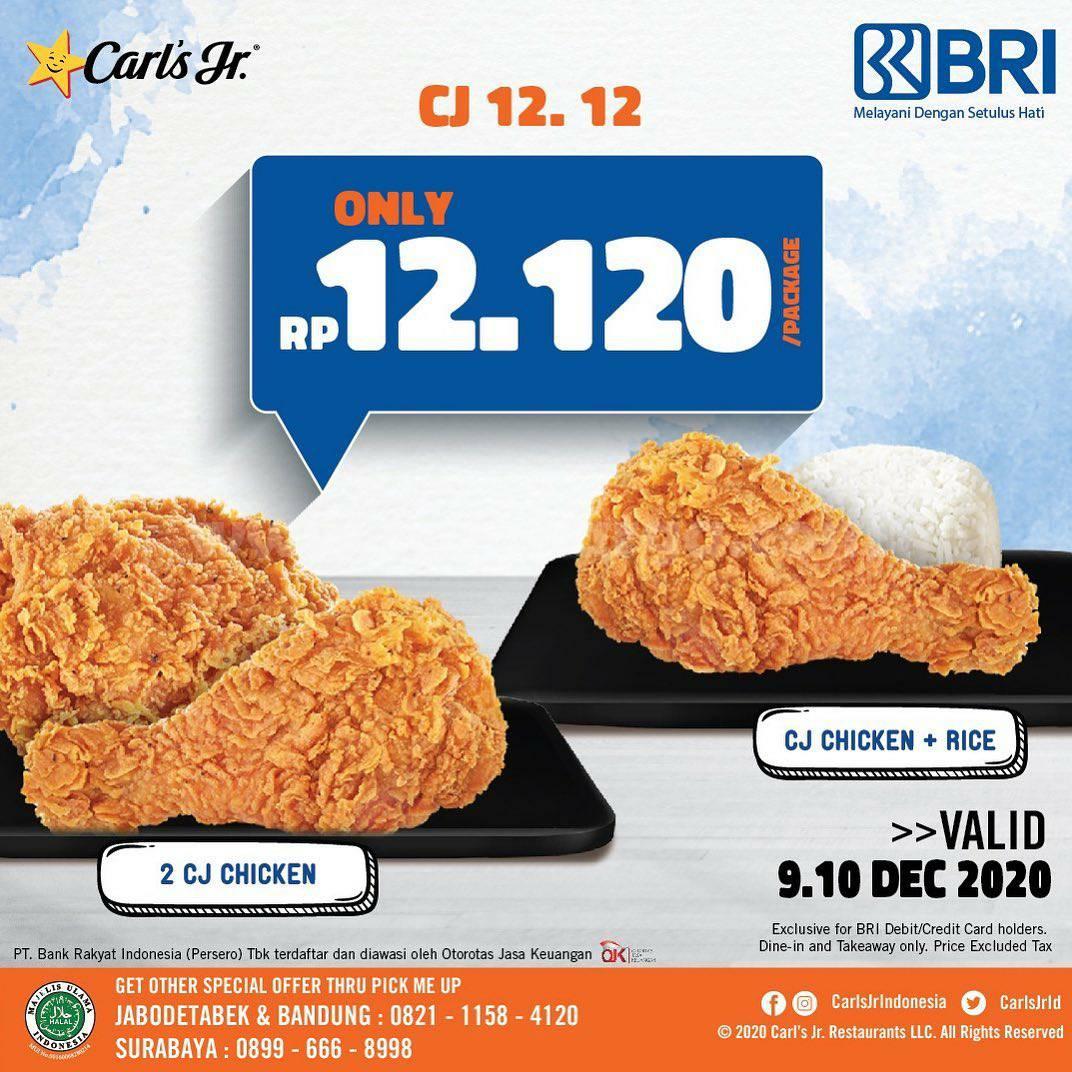 Promo CARLS JR 12.12 - Paket 2 CJ Chicken atau CJ Chicken + Rice cuma Rp 12.120