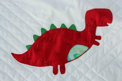 red dinosaur small handcrafted applique quilt block