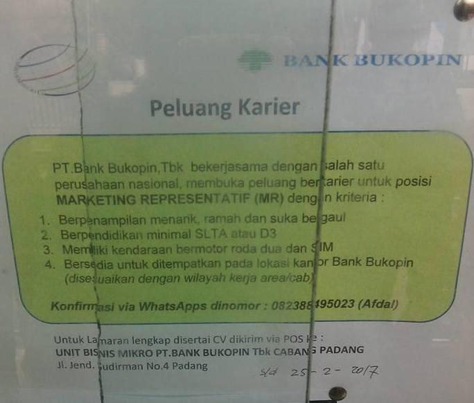Lowongan Kerja di Padang – PT.Bank Bukopin, Tbk – MR (Closed 25 – 2 – 2017)