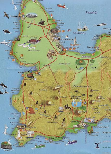Mapa de Reykjanes, Islandia