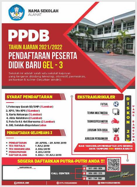 Template Brosur PPDB Keren, Format CDR Siap Edit