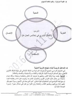 وثيقة البرامج والتوجيهات التربوية الخاصة بتدريس التربية (الدينية) بالتعليم الثانوي (مشروع 11 يونيو 2016)