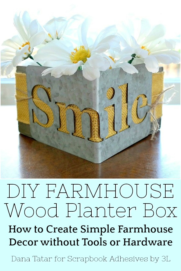 DIY Farmhouse wood planter box with daisies and galvanized metal smile