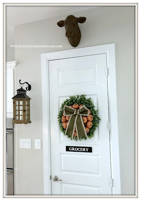Fall Pumpkin Wreath-Farmhouse Style-Cottage Style-Pantry Door- Hanging Lantern-Cow Head-From My Front Porch To Yours