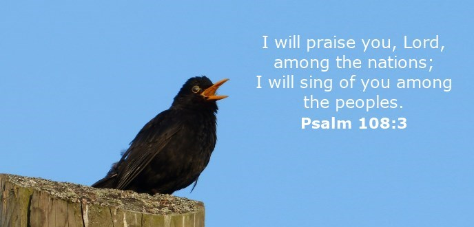 I will praise you, Lord, among the nations; I will sing of you among the peoples.