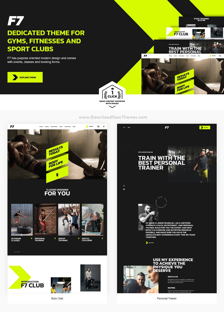 Fitness, Gym and Trainer WordPress Theme