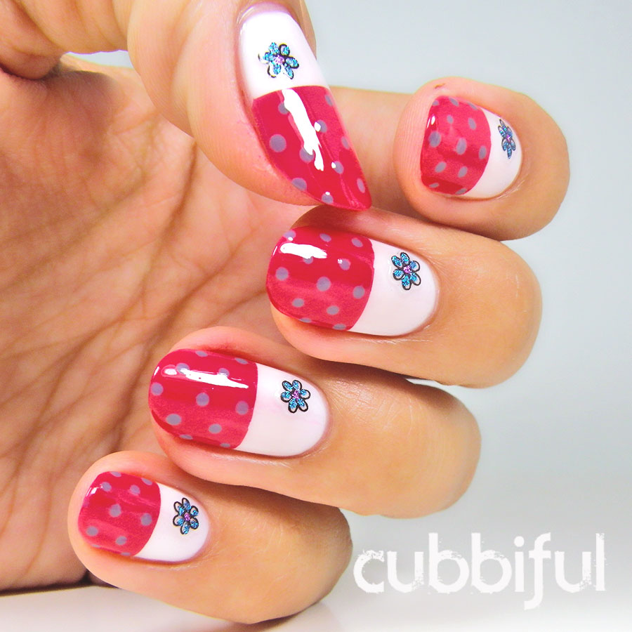 dots and flowers nails