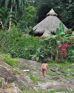 Little boy walking uphill on some giant rocks in a jungle.