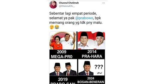 Serang Prabowo, Netizen: Sebentar Lagi Empat Periode, Tidak Punya Malu