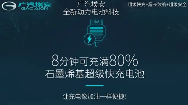It is reported that GAC AION's first graphene fast charging technology: 80% charging in 8 minutes, battery life 500km