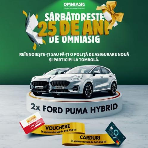 Concurs 25 de ani de OMNIASIG - Castiga 2 masini Ford Puma EcoBoost Hybrid - 2020 - castiga.net