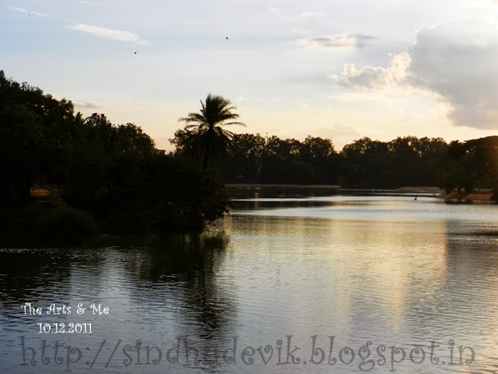 Lalbagh Lake, Lalbagh Botanical Garden in the evening when the sun is already set