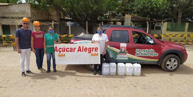 PM de Pilõezinhos recebe, da Usina Monte Alegre, doação de 100 litros de álcool 70%