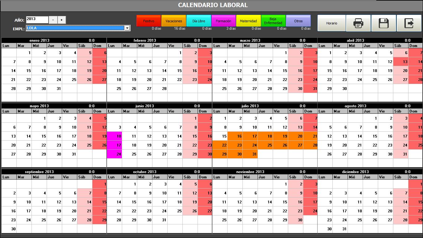 Calendario Turnos.Calendario Laboral Manager Programa Para Peluqueria Y Estetica