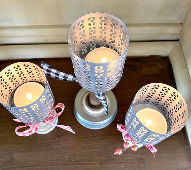 Pedestal Tea Light Candles from Found Parts