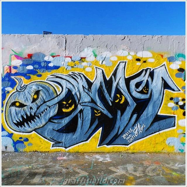 Halloween, graffiti, street art, kürbis, graffiti wall, pumpkin
