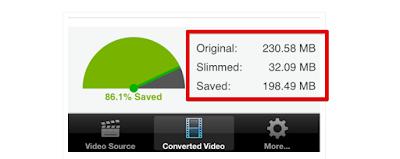 Hasil memperkecil ukuran video di iPhone