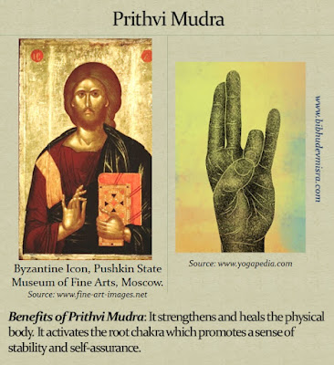 Byzantine Icon of Jesus with his hand in the Prithvi Mudra