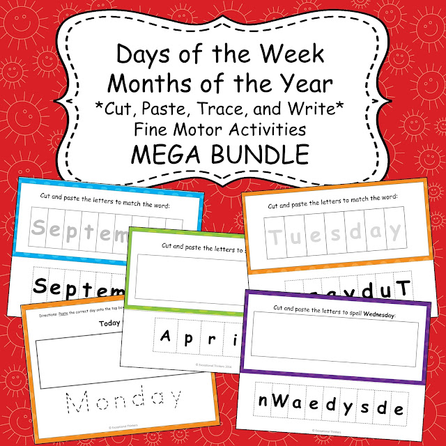 Students will practice fine motor and language arts skills as they cut, paste, trace, match, spell, and write to spell out the days of the week and months of the year. Activities are modified to accommodate a variety of ability levels...perfect for special education or classrooms with diverse learners!