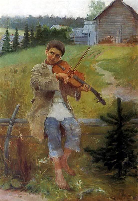 Nikolay Bogdanov-Belsky, Musik, Gabe, die Welt, Schicksal, Armut, hoffnungslosigkeit, talent vershwenden, keine chance haben, geige spielen, violine, traurige lieder, melodie, herz berühren, painting, malerei, bild, poetische Art