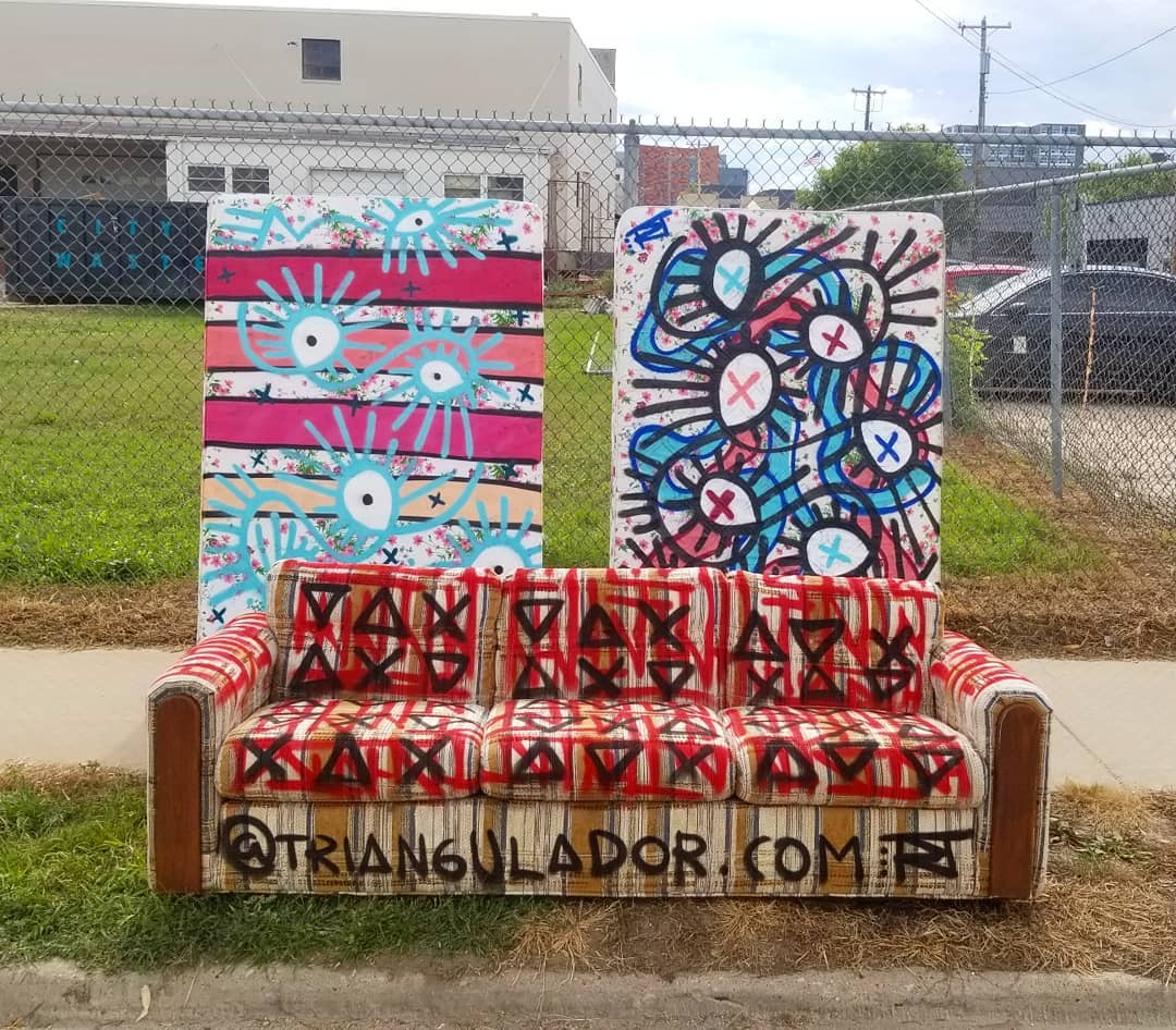 Image contains outdoor street art on furniture